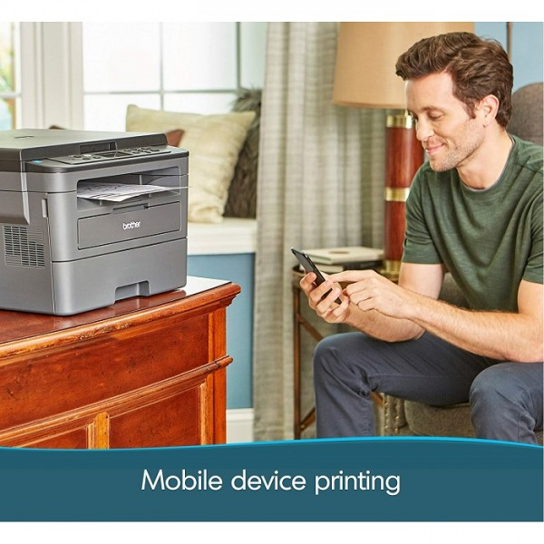 Brothers Monochrome Laser Printer with Convenient Flatbed Copy and Scan Duplex and Wireless Printing-HL-L2390DW