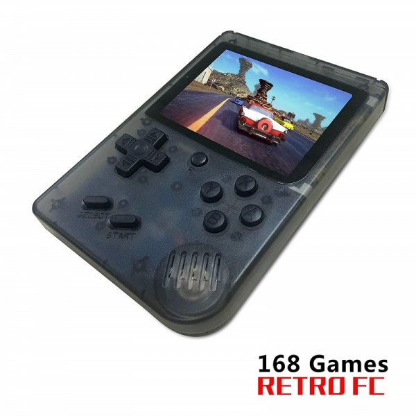 Handheld Game Console, Retro Game Console with 168 Classic Games (Transparent Black)