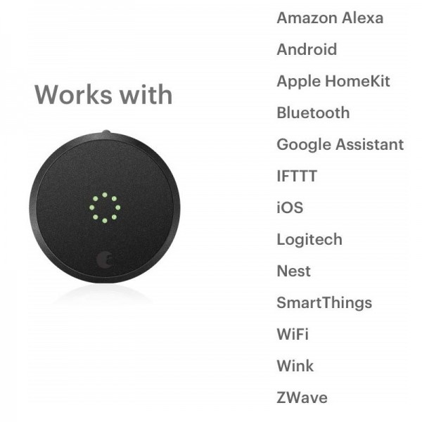 August Smart Lock Pro, 3rd Generation - Dark Gray, Works with Alexa